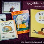 Bücherverlosung von HappyBabys-Bindung - Trau dich, du Elch! Weißt Du eigentlich, wie lieb ich dich hab? Nasenbohren ist schön! Vom kleinen Maulwurf, der wissen wollte, wer ihm auf den Kopf gemacht hat. Was macht die Katze in der Nacht?